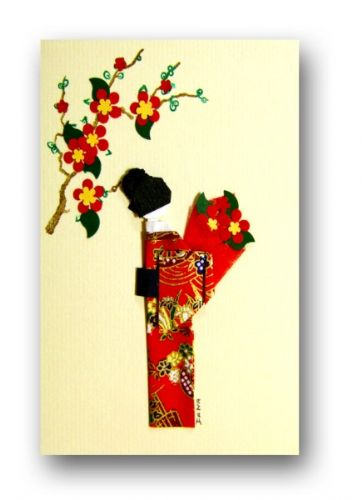 Greetings card Handmade - Geisha holding flowers with Japanese  yuzen washi paper - red